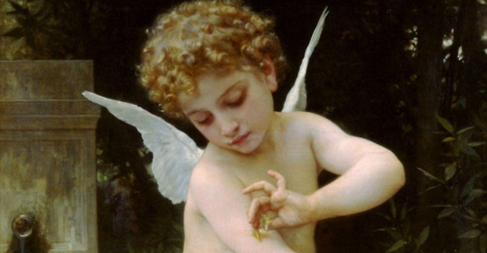 Andělské karty eTarot.cz – William-Adolphe Bouguereau, Cupid with a Butterfly (L'Amour au Papillon) 1888